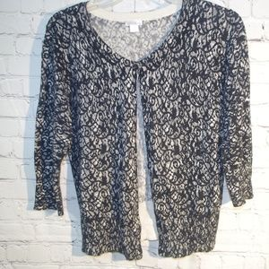 Black & White Lace 3/4 Sleeve Cardigan Sweater M